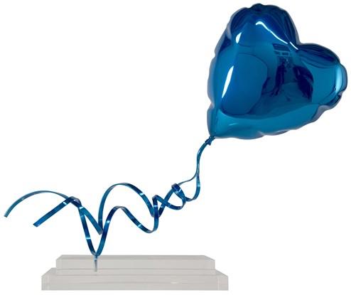 Flying Balloon Heart (Blue) by Mr. Brainwash - Chrome Painted Fiberglass on Acrylic Base
